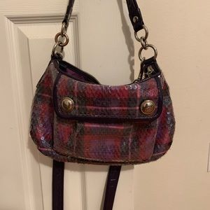 Coach Poppy tartan plaid glam bag